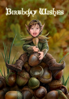Acorn Pixie Birthday Card By Anne Stokes