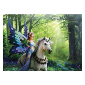 Realm of Enchantment - Fairy & Unicorn Small Glass Picture By Anne Stokes