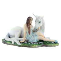 Pure Heart  - Maiden & Unicorn Figurine By Anne Stokes