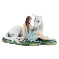 Pure Heart  - Maiden & Unicorn Figurine By Anne Stokes