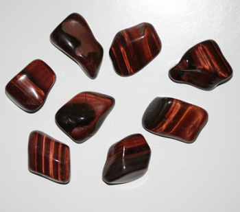 Red Tigers Eye Tumblestone Crystal & Information Card Set