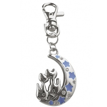 Cats on Crescent Moon Diamante Keyring Bag Charm - Witches of Pendle