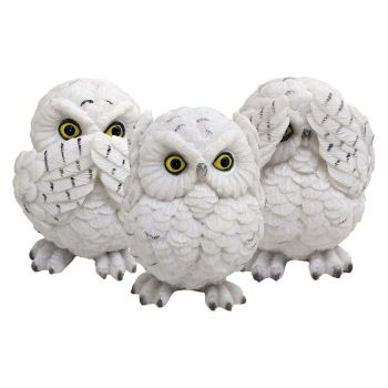 Three Wise Owls Figurines