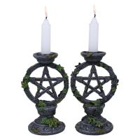 Wiccan Pentagram Candlesticks - Set Of Two