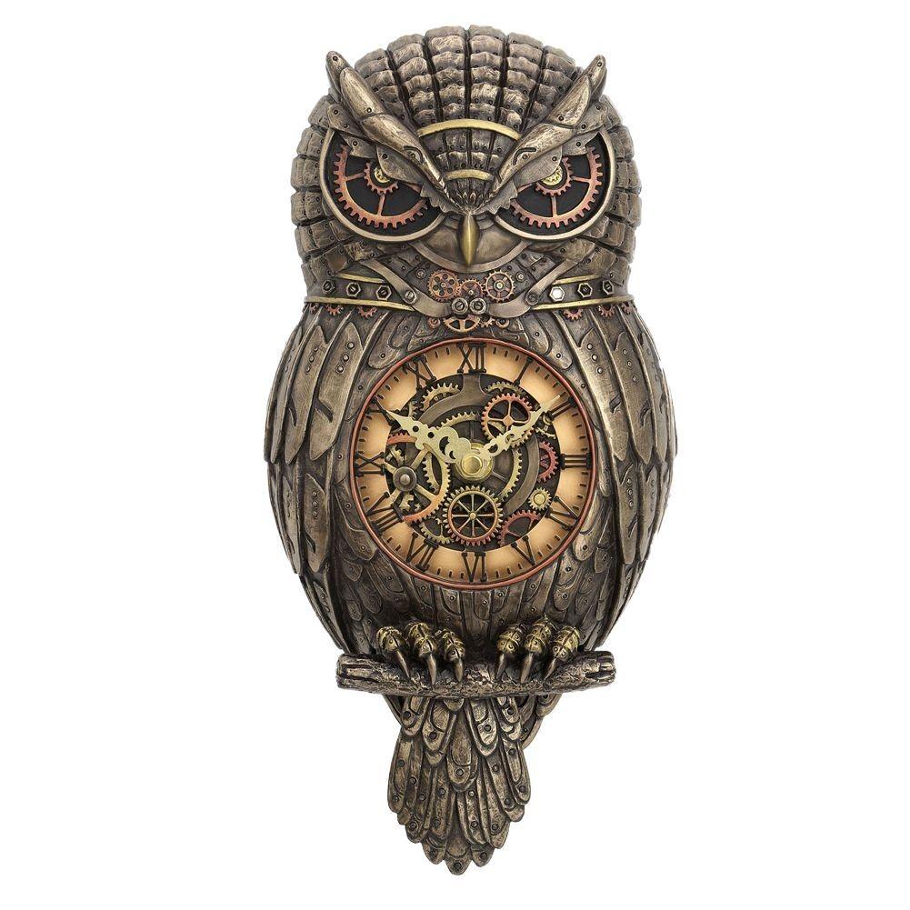 Chronology Wisdom - Steampunk Owl Wall Clock
