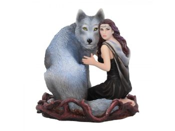 Soul Bond By Anne Stokes - Maiden & Wolf Figurine