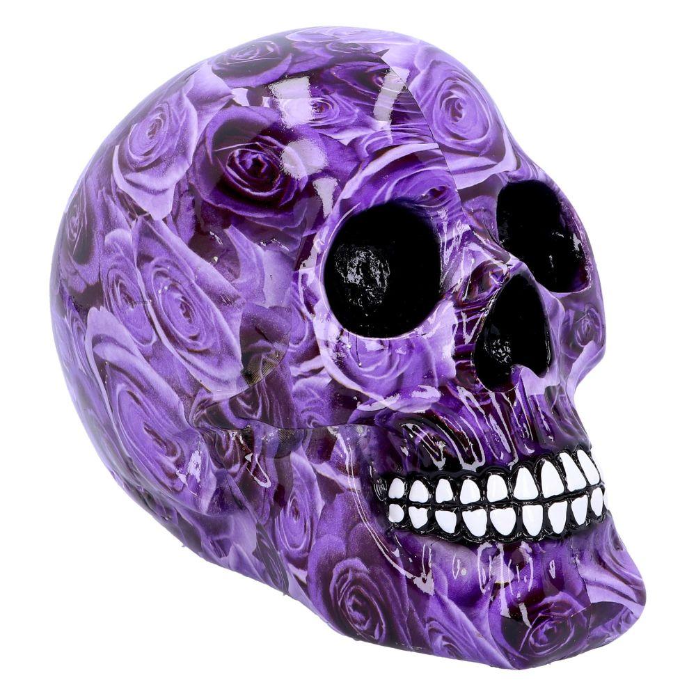 Purple Romance Skull Figurine