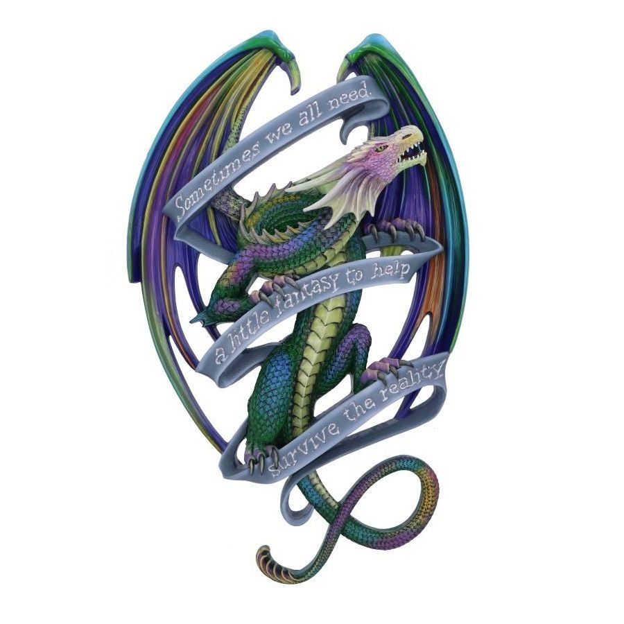 Sometimes Rainbow Dragon Scroll Wall Plaque By Anne Stokes