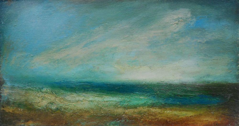 Summer Morning Sea oil on board 7in x 13in