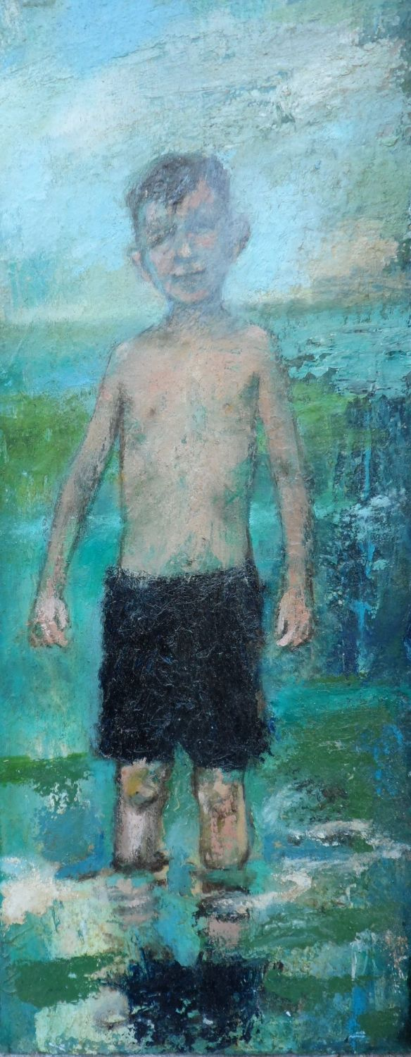 Boy Bather oil on board 20in x 8in