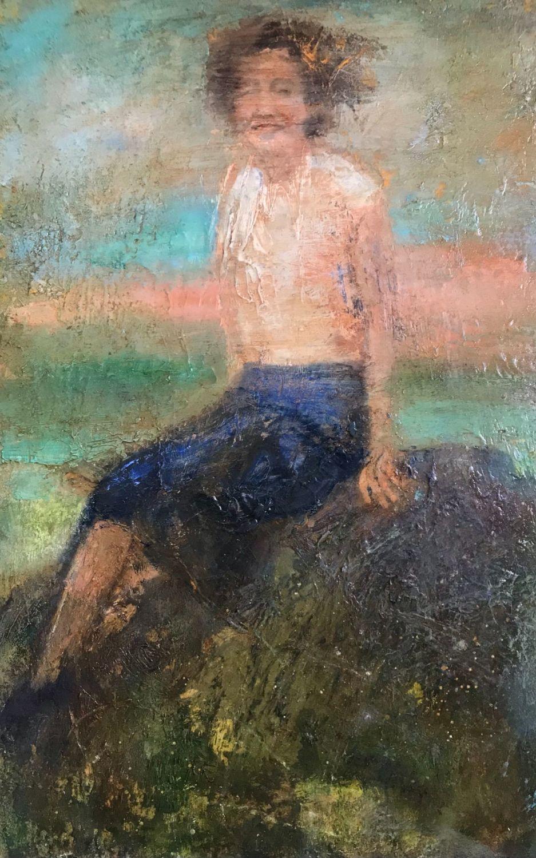 Woman on Rock oil on board 43cm x 28cm