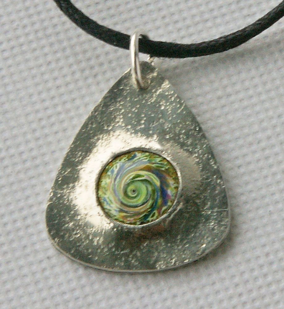 Pewter and Swirled Enamel Pendant