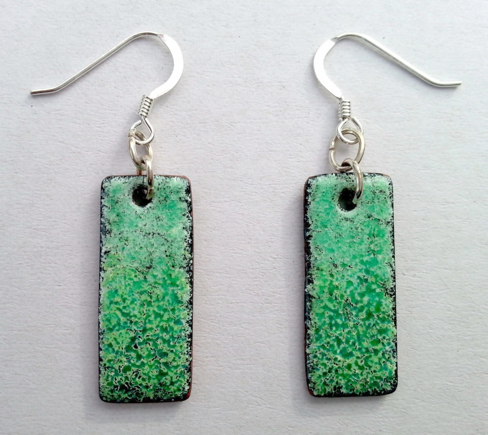 Rectangular Shaded Earrings - Green