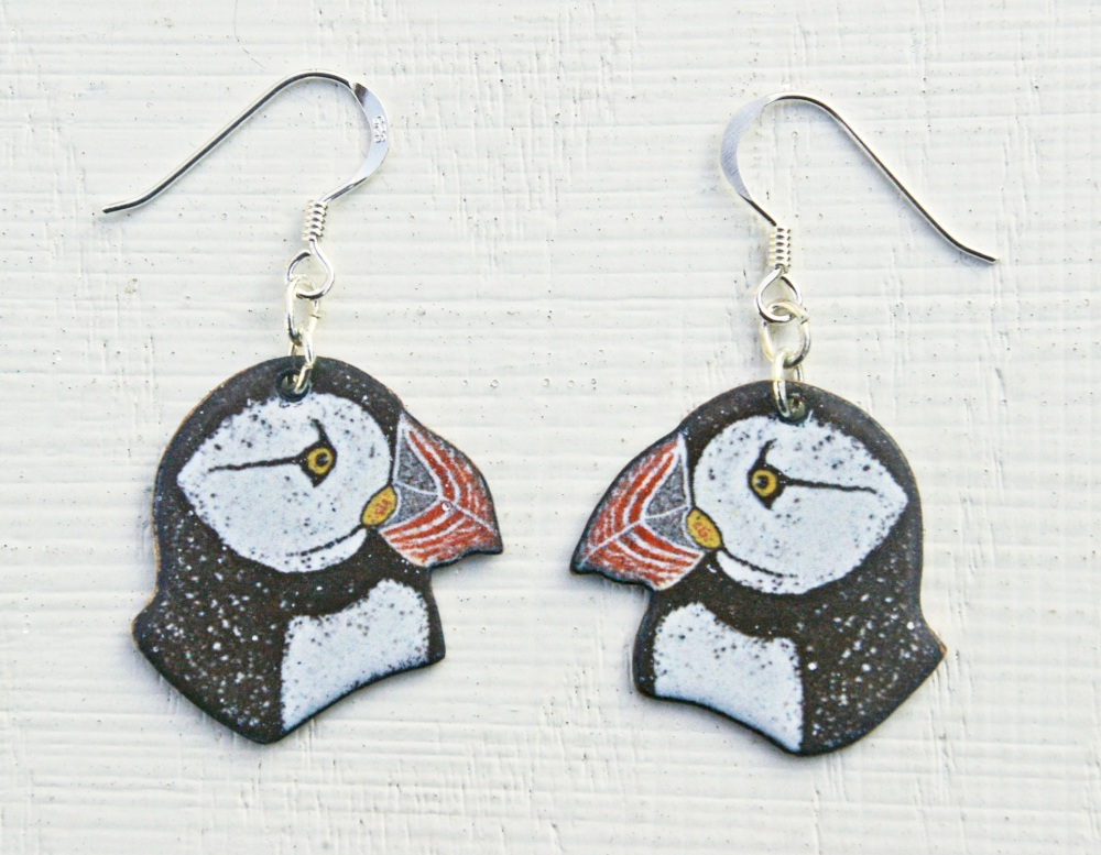 Puffin Head Pendant Earrings