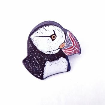 Puffin Head Brooch
