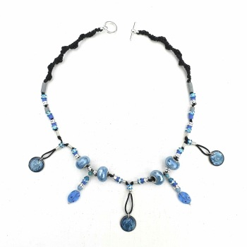 Necklace Kit with Hand-crafted Swirled Enamelled Discs