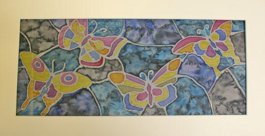 Silk Painted Butterflies in mount