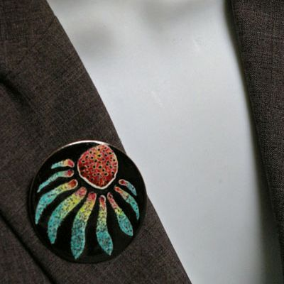 Echinacea Brooch (on jacket)