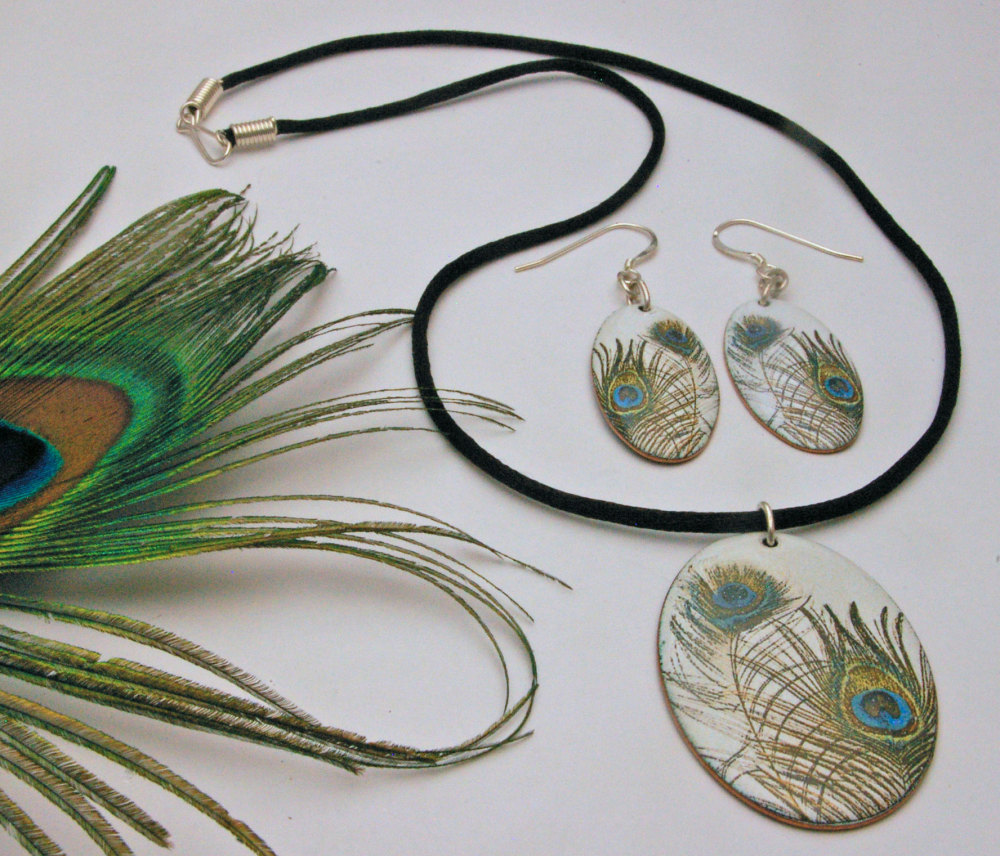 Peacock Feather Pendant and Earrings