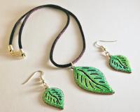 Set of Jewellery - Leaf Earrings & Pendant