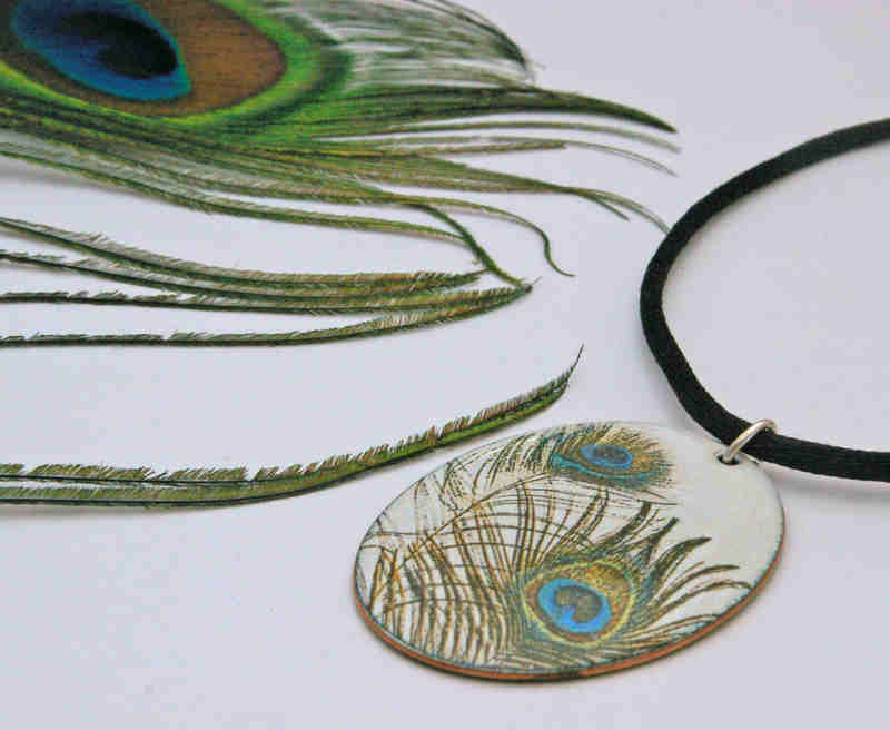 Peacock Feather Pendant (with Feather)