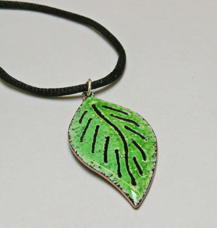 Green Leaf Pendant Close up