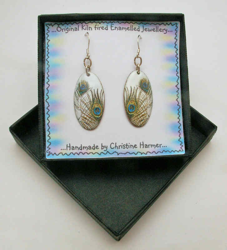 Peacock Feather Earrings (Boxed)