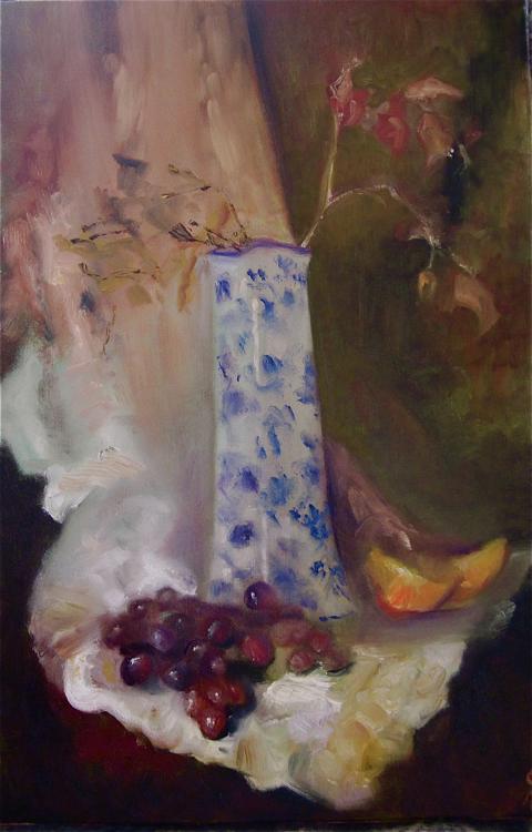 tall vase & fruit full