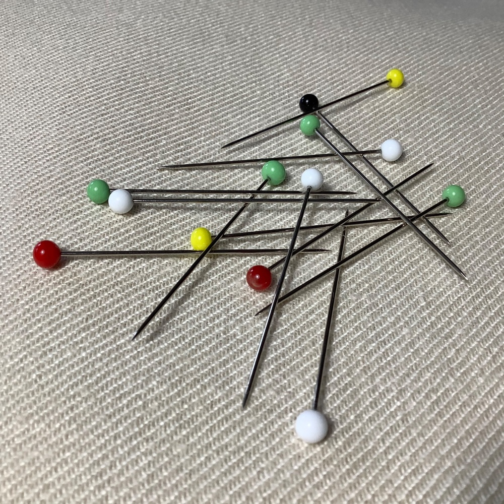 Large glass headed pins