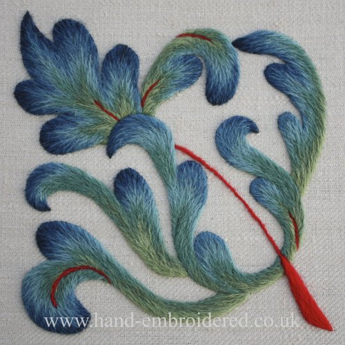 Crewelwork Long & Short Leaf