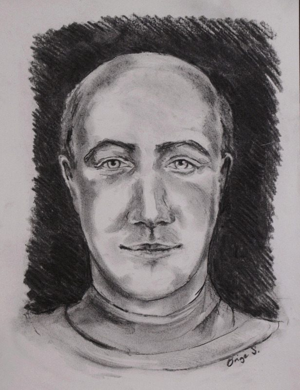 Spirit guide monk, charcoal (c) Brige Steedman