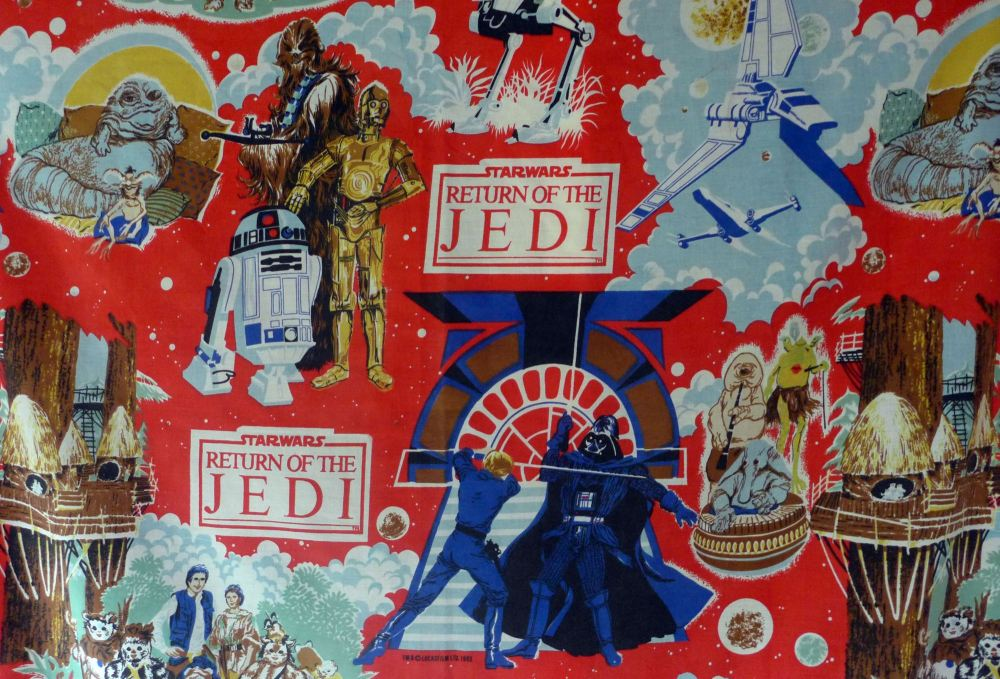 Vintage 1983 star wars fabric for Retro space fabric uk