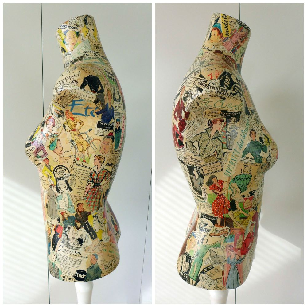 vintage decoupage mannequin side view