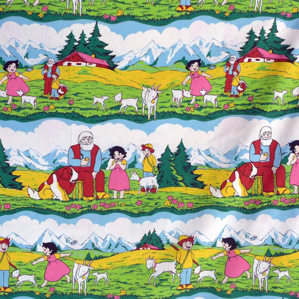 1970s childrens fabric heidi for Vintage childrens fabric prints