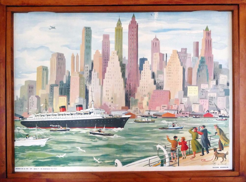 Vintage French School Print - Helen Poirie - New York