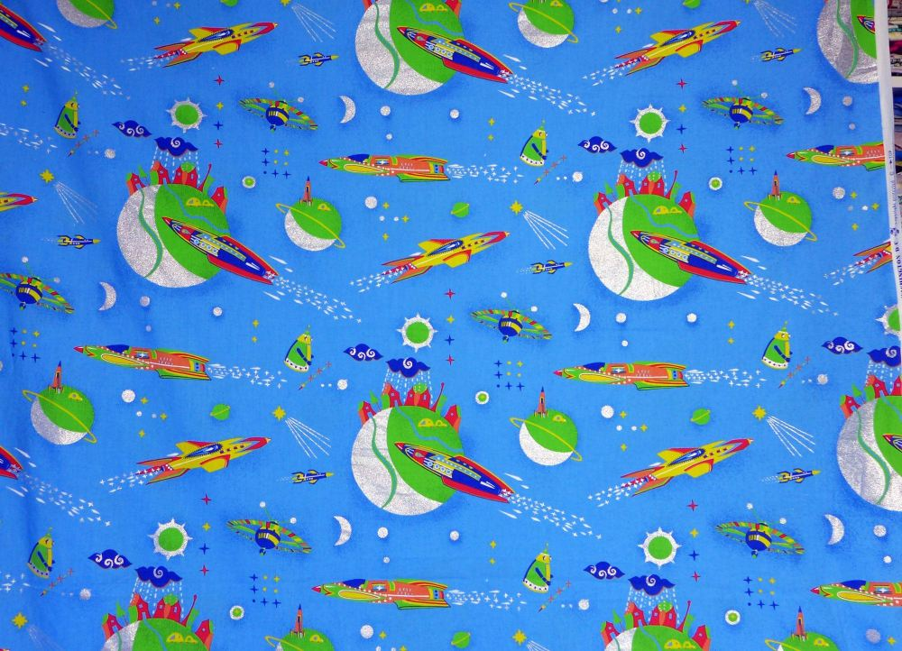 Vintage spaceship rocket fabric for Rocket fabric