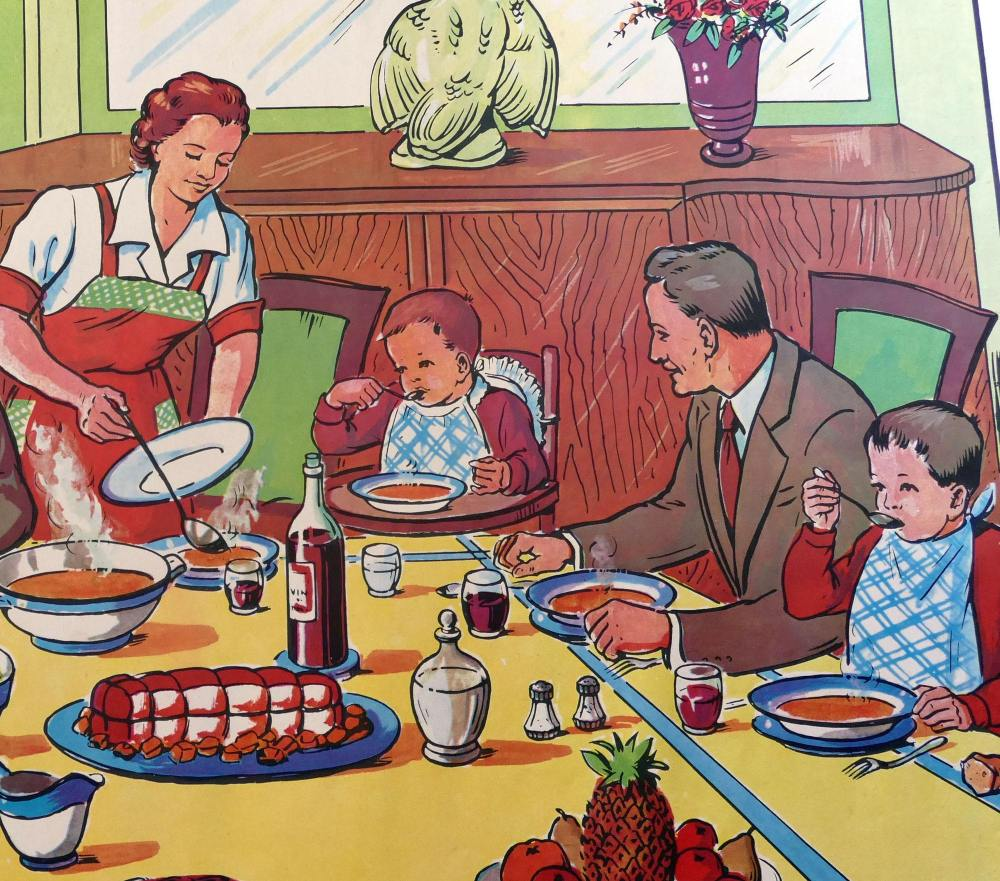 1960's French Classroom Poster - In the Evening/At the Table