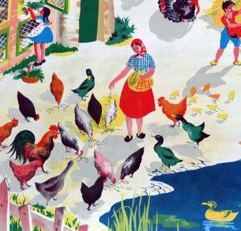 Vintage French School Print - Helen Poirie - The Farm