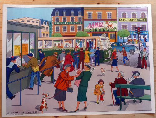 Vintage French Classroom Poster - The Bus Station