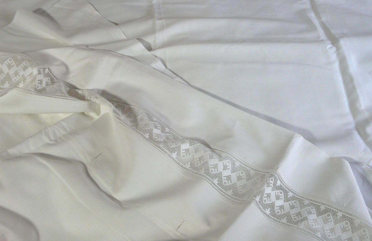 Vintage French Linen Sheet with Lace Panel