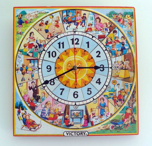 1970's Vintage Victory Wooden Jigsaw Clock - Large Size