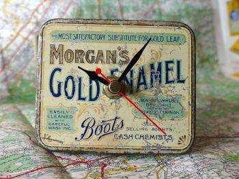 Vintage Boots Gold Enamel Tin Bedside Clock - 1950's