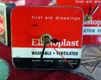 Vintage Elastoplast Tin Bedside Clock - 1960's