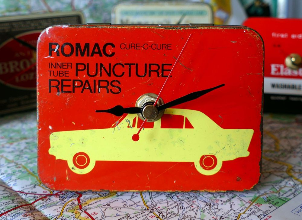 Vintage Romac Puncture Kit Tin Bedside Clock - 1960's