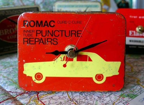 Vintage Romac Puncture Kit Tin Bedside Clock - 1960's