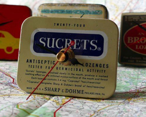 Vintage Sucrets Tin Bedside Clock - 1970's