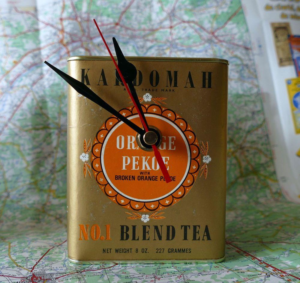 Vintage Tea Caddy Clock - Orange Pekoe Tea