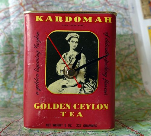 Vintage Tea Caddy Clock - Golden Ceylon Tea