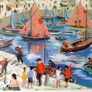 Vintage French School Print - Helen Poirie - The Port