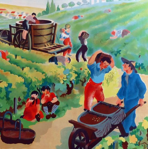 Vintage French School Print - Helen Poirie - The Harvest